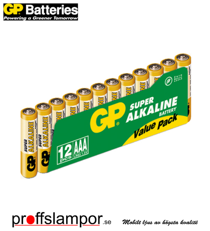 Batteri GP Super Alkaline LR03 AAA 12 pack