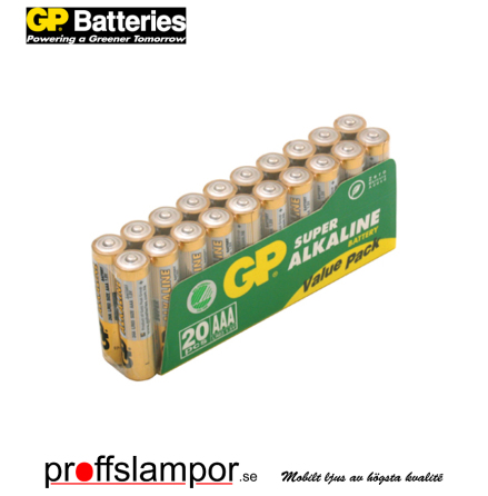 Batteri GP Super Alkaline LR03 AAA 20 pack