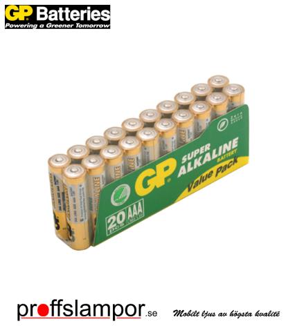 Batteri GP Super Alkaline LR03 AAA 20 pack